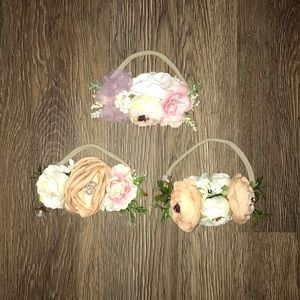 Set of three floral baby headbands